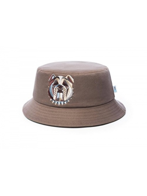 28_OUNCE Men's Bucket Hat One-Size-Fits-Most Premium Quality Material 100% Cotton Multicolor Embroidered English Bulldog Logo by Ounce Stylish and Comfortable Beige or Brown
