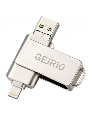 USB Flash Drives Compatible iPhone/iOS 128GB [3-in-1] Lightning OTG Jump Drive, GEJRIO USB 3.0 Thumb Drive External USB Memory Storage, Flash Memory Stick Compatible Apple, iPad, Android & PC