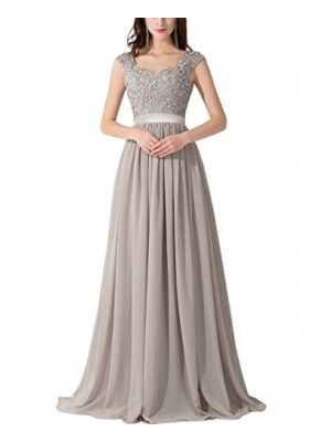 CaliaDress Women A Line Sheer Back Chiffon Long Prom Evening Gowns C007LF