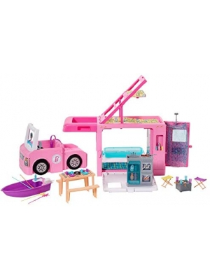 ​Barbie 3-in-1 DreamCamper Vehicle, approx. 3-ft, Transforming Camper with Pool, Truck, Boat and 50 Accessories, Makes a Great Gift for 3 to 7 Year Olds, Multicolor