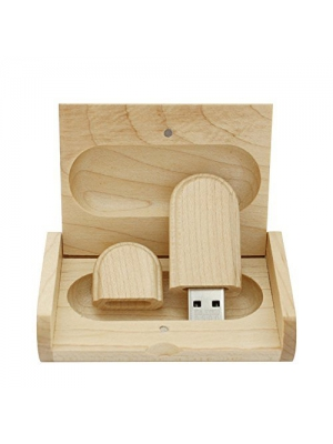 Maple Wood USB Flash Drive with Wooden Box U Disk Memory Stick Pen drive (16GB, 3.0)
