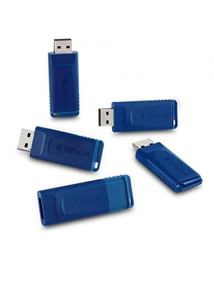 Verbatim 8GB USB 2.0 Flash Drive - Cap-Less & Universally Compatible - 5 Pack - Blue