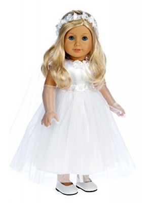 Little Angel - 4 piece outfit - White satin and tule first communion dress for american girl dolls with long gloves, veil and white shoes - 18 Inch Doll Clothes (doll not included)