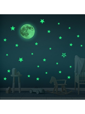 Glow In the Dark Stars & Moon Wall Stickers – Baby Room Decor Sticker - Wall Stickers For Kids- Boy & Girl Room Sticker – Home Decor Wall Sticker– 30 cm Moon and 28 pcs Stars
