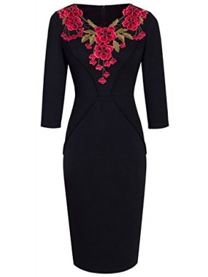 HOMEYEE Women's Vintage Floral 3/4 Sleeve Wedding Party Pencil Dress B330