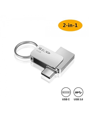 Type C Flash Drive, MECO 64GB 2 in 1 OTG USB Flash Drive Dual Drive(USB 3.1 Gen 2 + USB 3.0) Waterproof Memory Stick with Keychain Metal for Computer, Macbook,Google's Chromebook Pixel,Samsung Galaxy