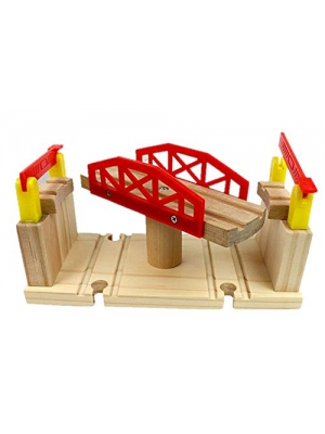 Wooden Train Track 8 Way Turn Table- Revolving Center Track Piece- 100% Compatible with All Major Brands including Thomas Wooden Railway System