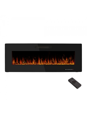 50'' Electric Fireplace,Wall Mounted & In-wall Recessed Electric Heater,Remote Control,750-1500W,1 Years Warranty,by R.W.FLAME