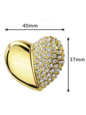 Newdigi? Real 8GB Crystal Asymmetric Heart Shape USB Flash Drive with Necklace,golden