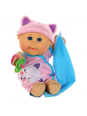 "Cabbage Patch Kids 12.5"" Naptime Babies - Bald/Blue Eye Girl Baby Doll (Pink Stripe Jumper Fashion)"