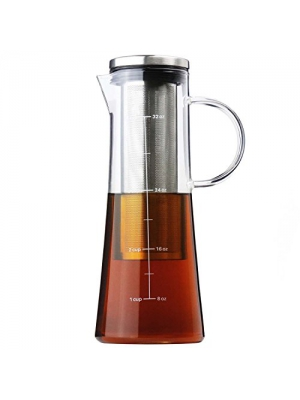 COLD BREW COFFEE MAKER - Iced Coffee Maker & Tea Infuser with Pouring Spout, Glass Pitcher with Removable Stainless Steel Filter, 1 Quart | 32 oz