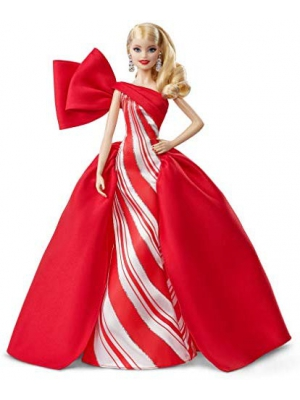 ​2019 Holiday Barbie Doll, 11.5-Inch, Blonde, Wearing Red and White Gown, with Doll Stand and Certificate of Authenticity
