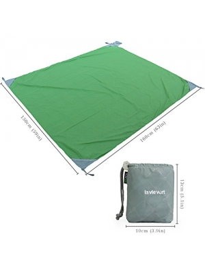 "Lavievert 63"" x 59"" Sand Proof Compact Quick Drying Lightweight Durable Outdoor Pocket Beach Blanket Picnic Blanket Sand Resistant - Green, Medium"