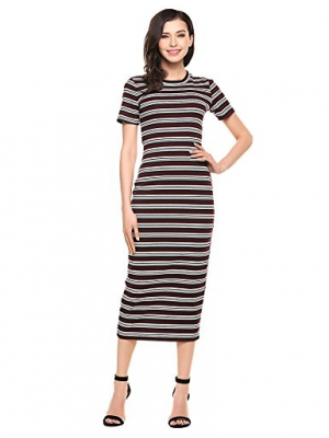 ANGVNS Women Casual Striped Soft Stretchy Knit Long Dresses