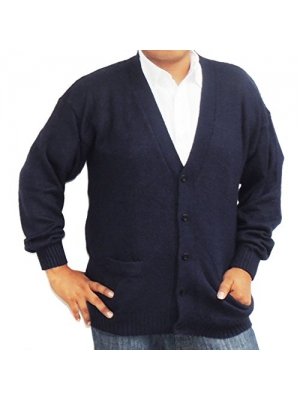 Cardigan Golf Sweater Alpaca Vneck Buttons and Pockets NAVY BLUE