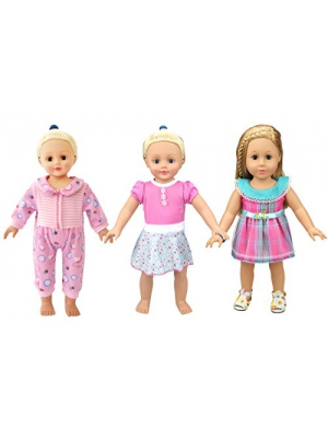 XADP Bitty Baby Doll Party Dress Pajames for 16-18 Inch American Girl Dolls, Set of 3