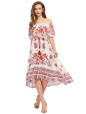 OEUVRE Women's Off Shoulder Elastic Waist Loose Floral Printed Long Dress