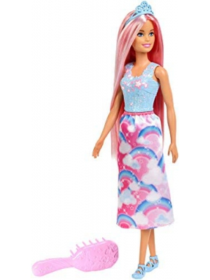 ​Barbie Doll, Rainbow Princess Look with Extra-Long Pink Hair, Plus Hairbrush, for 3 to 7 Year Olds