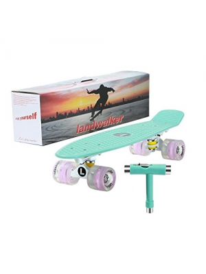 "Landwalker 22"" Light Up Skateboard with Colorful LED Light Up Wheels-Ready to Ride"