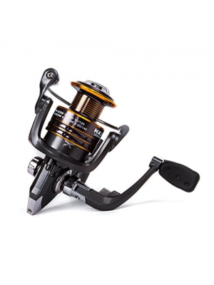 SUNVP Fishing Reels Spinning Freshwater Saltwater with 5.2:1 Gear Ratio 12+1BB Black Metal Body Left/right Interchangeable Collapsible