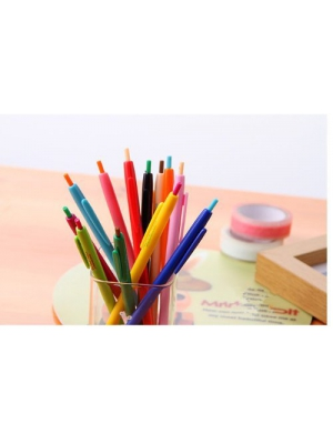 Korean version of the lovely fine pen ballpoint pen color creative push