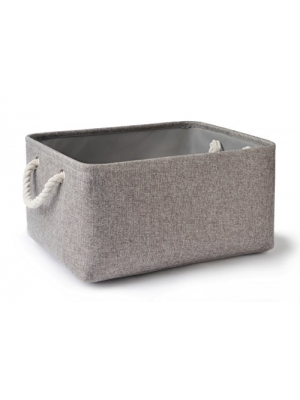 Perber Storage Baskets,Decorative Collapsible Rectangular Linen Fabric Storage Bin,large enough for Storage Box,Kids Toys,Pet Toys,Baby Clothing, Bedroom,Snacks,Closet Organizer- Grey Medium