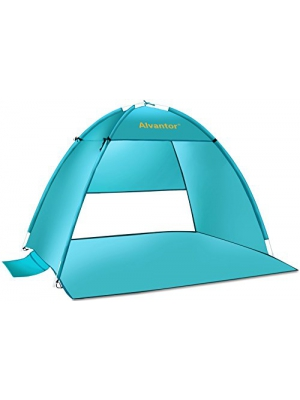 Alvantor Beach Tent Super Bluecoast Beach Umbrella Outdoor Sun Shelter Cabana Automatic Pop Up UPF 50+ Sun shade Portable Camping Fishing Hiking Canopy Easy Setup Windproof PATENT PENDING 3 or 4 Perso
