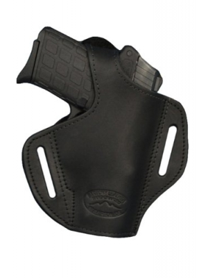 New Barsony Black Leather Pancake Holster for 380 Ultra Compact 9mm 40 45