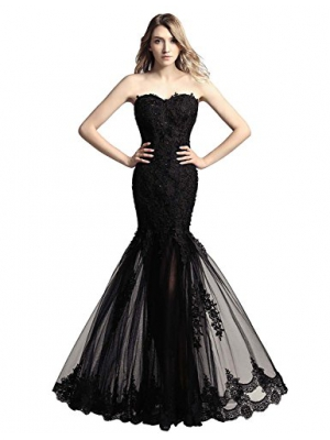 Sarahbridal Womens Tulle Mermaid Sequin Evening Dress Prom Gown AJ017