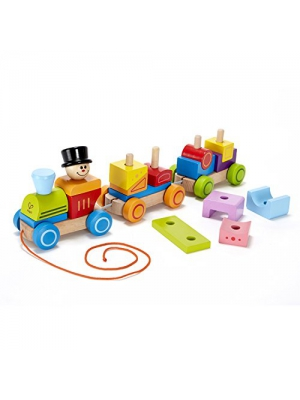 Hape Happy Train Stacking Blocks Toddler Pull Along Toy (Amazon Exclusive)