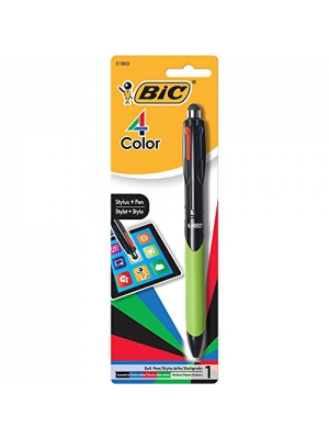BIC 4-Color Grip Stylus Medium Ballpoint Pen (1.0mm) 1-Pack Blister, Assorted (MMGSTP11)