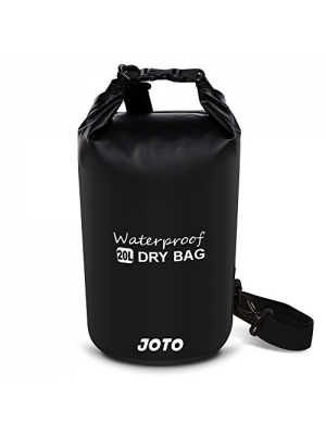 Dry Bag Sack Backpack 20L - JOTO Waterproof Dry Bag for Outdoor Activities - Perfect for Boating, Kayaking, Fishing, Rafting, Hiking, Swimming, Floating, Camping [ 20L Floating Dry Bag ] (Black)