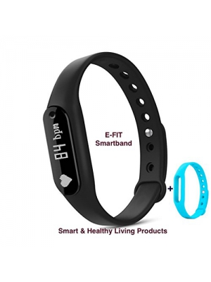 E-FIT New Smart band, Heart Rate Monitor, Step Tracker, Pedometer, Smart Bracelet, Fitness Tracker, Bluetooth Health Smartband for iOS & Android phones + One Free Color Band (Black-Blue)