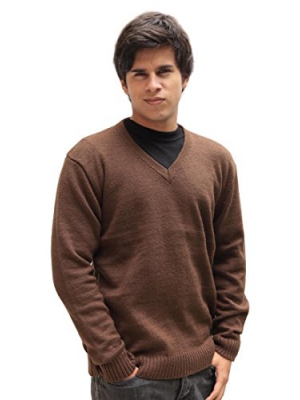 Men's Soft Alpaca Wool Knitted V-Neck Solid Sweater