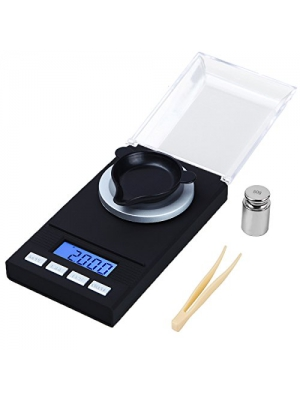 WAOAW Digital Milligram Scale 50 X 0.001g Reloading Jewelry Scale Digital Weight with Calibration Weights Tweezers and Weighing Pans