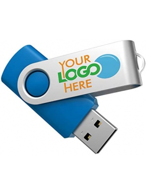 Custom USB Flash Drives Personalized 30+ Color Combos and Logo on 2-Sides - Made in USA - Grade A Memory - Sky Blue Body/Silver Swivel - 4GB [Pack of 50]