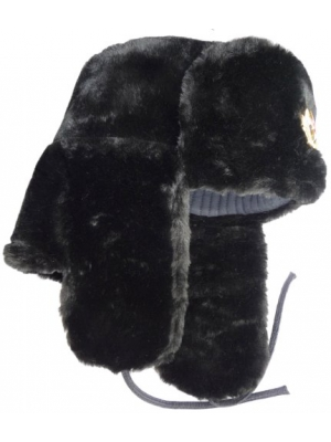 RUSSIAN HAT/SOVIET MILITARY W/EAR FLAPS SHAPKA-USHANKA *BLACK* Size: 59 (L)