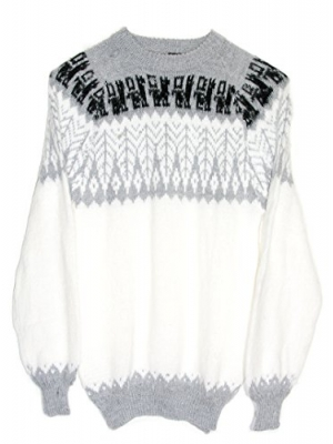 Gamboa Alpaca Warm and Soft Sweater - White with an Andean Leafs Design