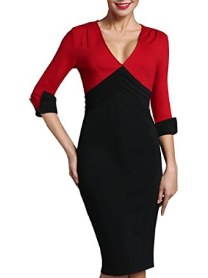HOMEYEE Women's Wear to Work Patchwork Business Party Casual Pencil Dress B357