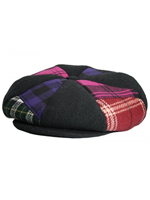 Emstate Patch Combo Plaid Mens Melton Wool 8 Panel Applejack Baker Boy Newsboy Cap Made in USA Various Colors