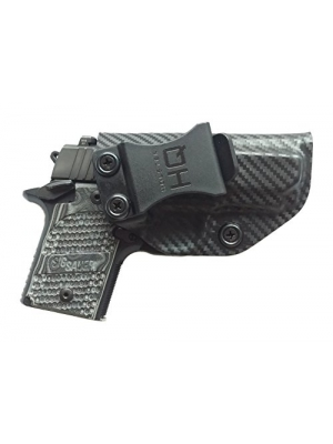 Sig Sauer P938 Holster HQ Super Light Weight | IWB Kydex Concealed Carry Holster| Premium Custom Fit | In the Waistband Handgun Concealment | Compact Carbon Fiber look for Left or Right