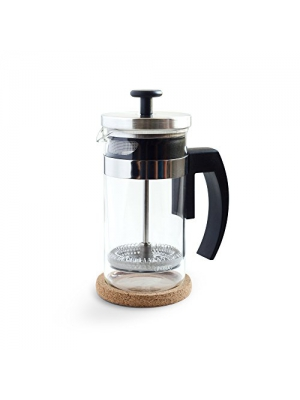 Brillante Small French Press Coffee Maker with 12 Ounce/3 Cup Glass Beaker - Single Serve Cafetiere and Tea Maker BR-CP1-350