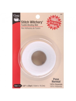 Dritz 222 Stitch Witchery, Regular Weight, 5/8-Inch X 20-Yards, White