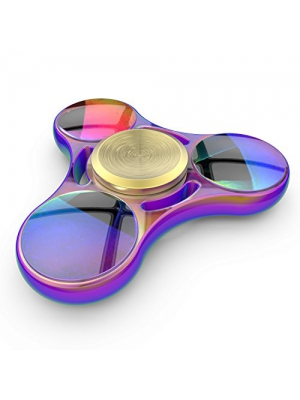 InfiSpin F1 Fidget Spinner, Metal Tri Spinner [Easy Flick & Spin] Prime EDC Focus + Stress Relief Toy | High Speed Bearings for 6+ Minutes of Spinning | Smooth, Quiet & Fast [RAINBOW]
