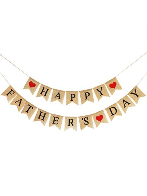 Burlap Happy Fathers Day Banner | Rustic Fathers Day Party Decorations | Fathers Day Family Photo Prop Celebration Gift