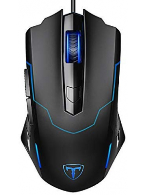 PICTEK Gaming Mouse, Entry-level Ergonomic Optical Computer Mouse for Game & Daily, 800-2400 DPI Adjustable USB Mouse Auto Breathing Wired Mouse for PC Desktop Windows 7/8/10/XP, Vista and Mac, Black