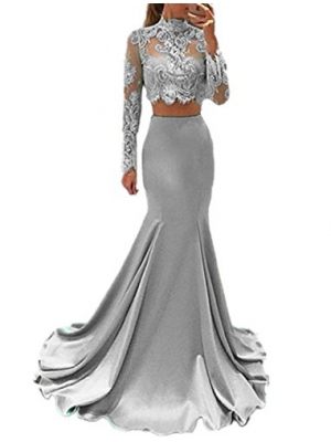 Sweet Bridal Women's Long Sleeve Dress for Graduation High Neck Mermaid 2 Piece Prom Dresses