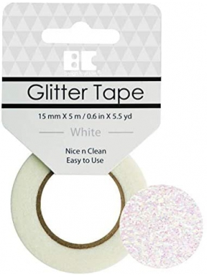 Best Creation Glitter Tape, 15mm by 5m, White
