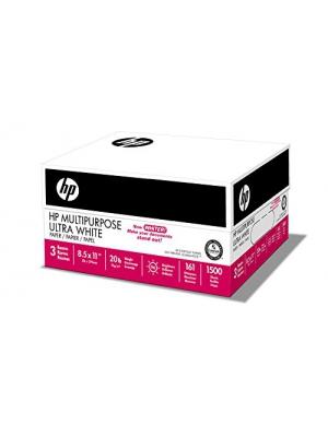 HP Printer Paper, Multipurpose Ultra White, 20lb, 8.5 x 11, Letter, 96 Bright - 1,500 Sheets/3 Ream Case (112300C) Made In The USA