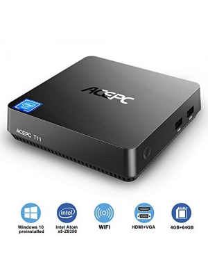 Mini PC,Intel Atom Z8350 Windows 10 Pro Mini Computer 4GB DDR 64GB eMMC,Support 4K HD,HDMI+VGA Output,2.4G/5G WiFi AC,2.5 inch SSD,Bluetooth,1000Mbps Ethernet